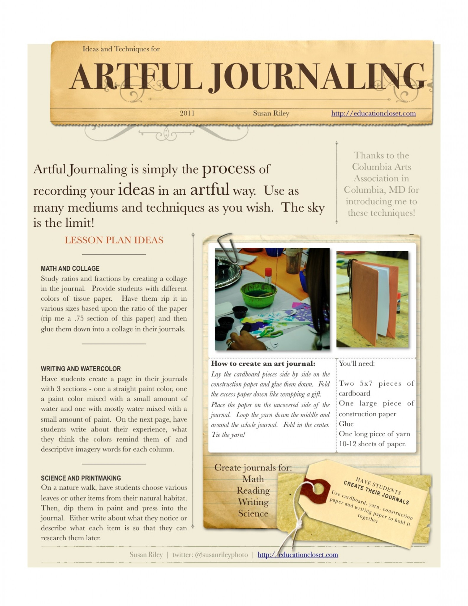Artful Journaling Lesson Plans