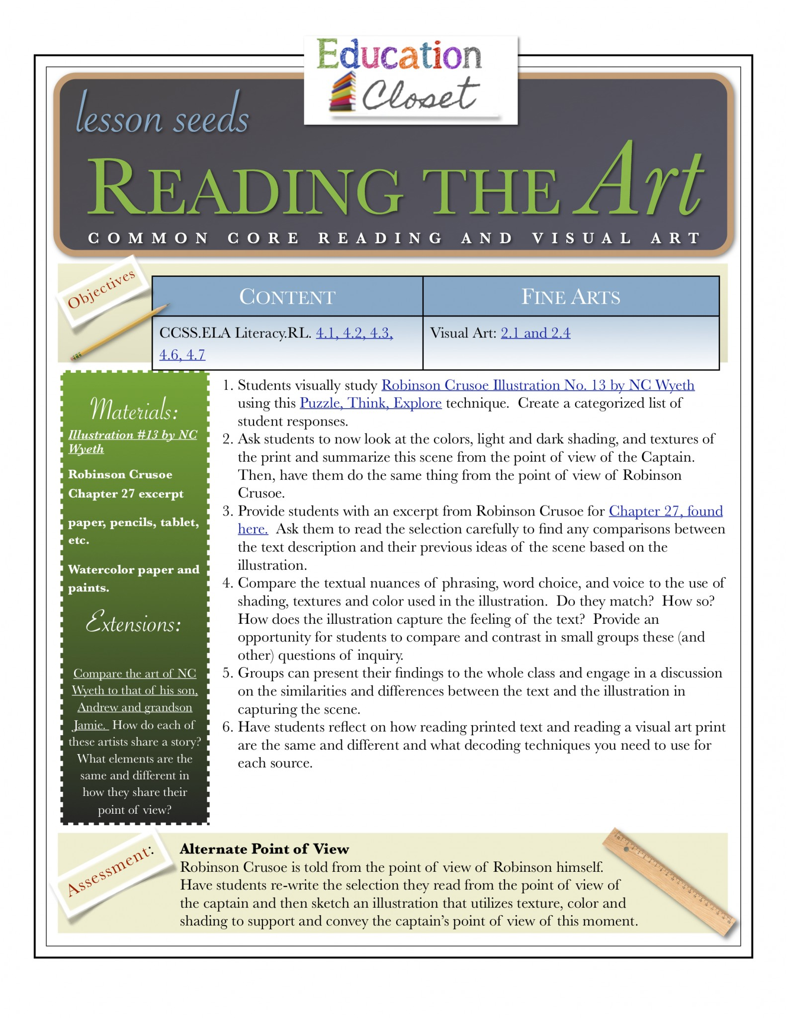 Downloadable Lesson Reading The Art