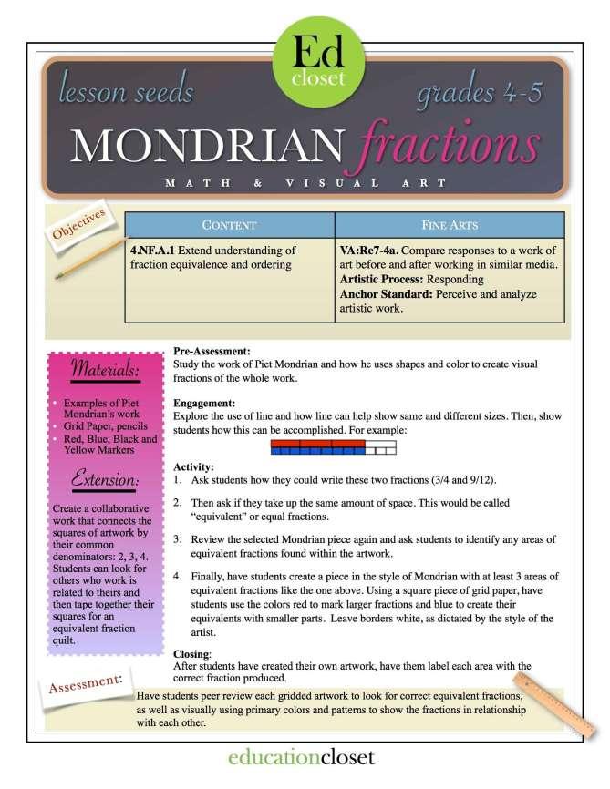 STEAM Lesson: Mondrian Fractions