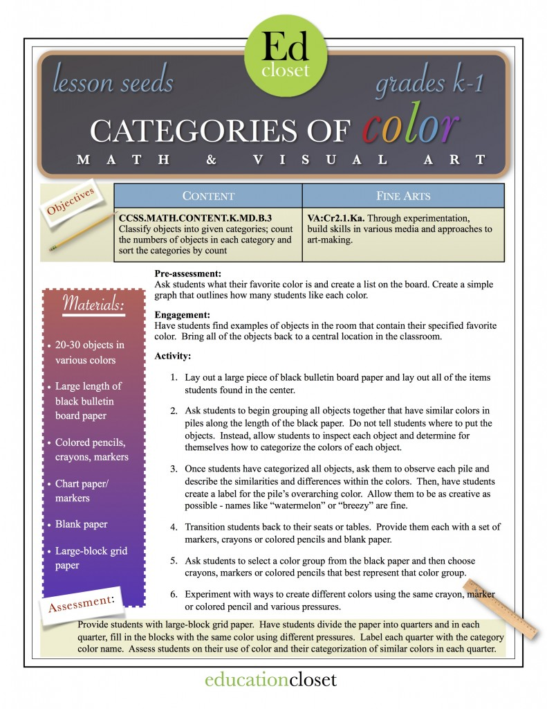 categories of color lesson