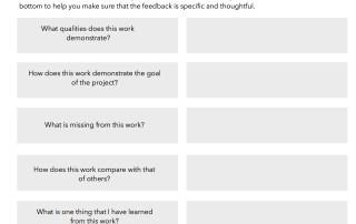 Student feedback form for assessment