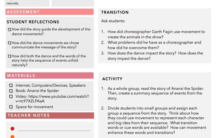 dance of anansi lesson plan