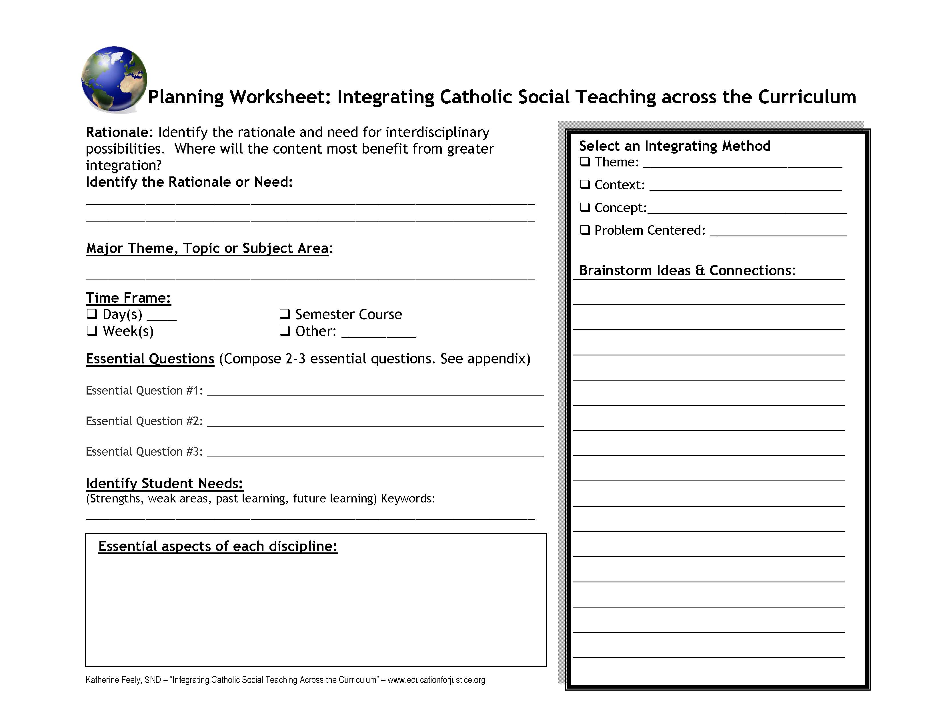 Planning Worksheet For Integrating Catholic Social