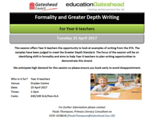 Formality and Greater Depth Writing -  For Year 6 Teachers @ Dryden Centre | England | United Kingdom