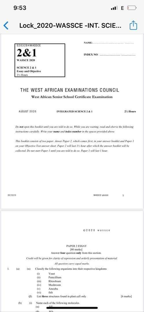 JUST IN: WASSCE 2020 Integrated Science Paper Leaked after WAEC's assurance of High-Tech Security 1