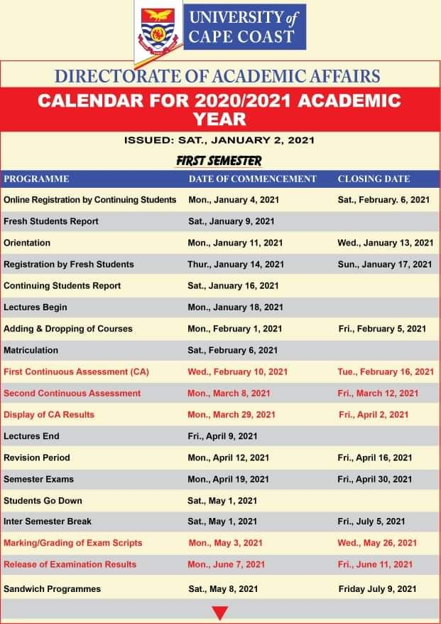 UCC releases official 2020/21 Academic Calendar 1