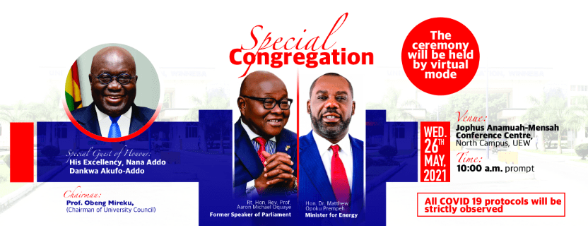 UEW Special Congregation for the award of Honorary Doctorate Degrees to NAPO, Michael Oquaye