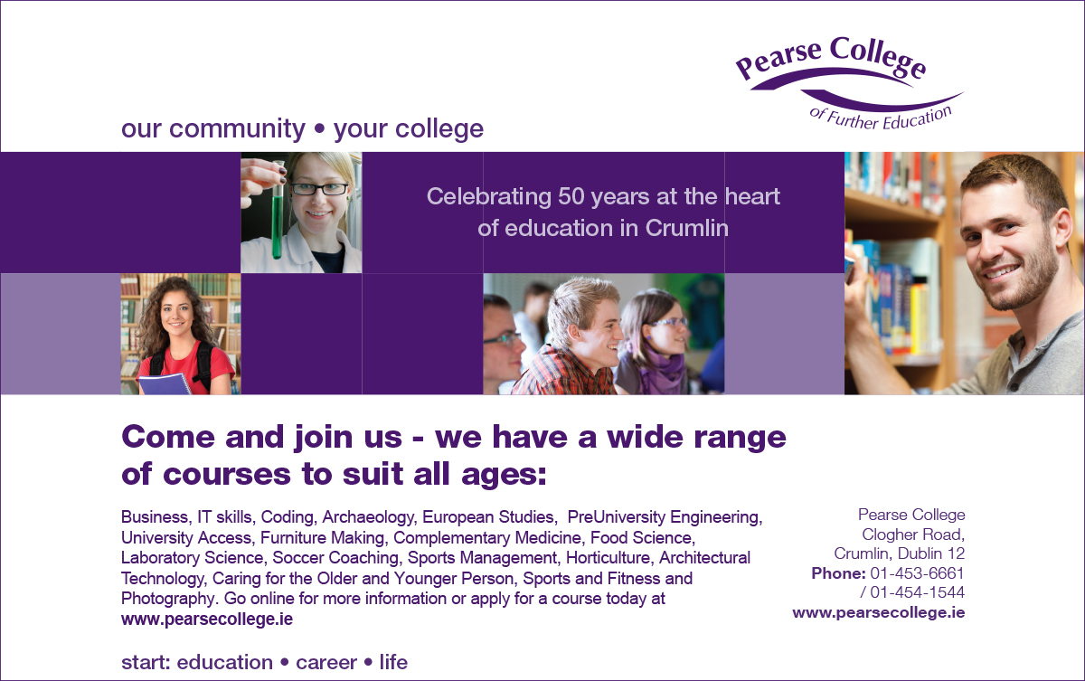 Pearse College Newspaper Advert 160(h)x255(w) July 2018 FOR PRIN