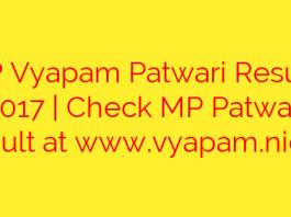 MP Vyapam Patwari Results 2017 | Check MP Patwari result at www.vyapam.nic.in