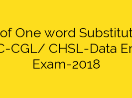 List of One word Substitution   SSC-CGL/ CHSL-Data Entry Exam-2018
