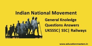 Indian National Movement GK Questions Answers for UKSSSC