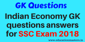 indian ecomony gk question answer for ssc 2018