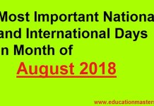list of national and international days in august 2018