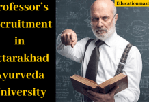 Professor's Recruitment in Uttarakhand Ayurveda University