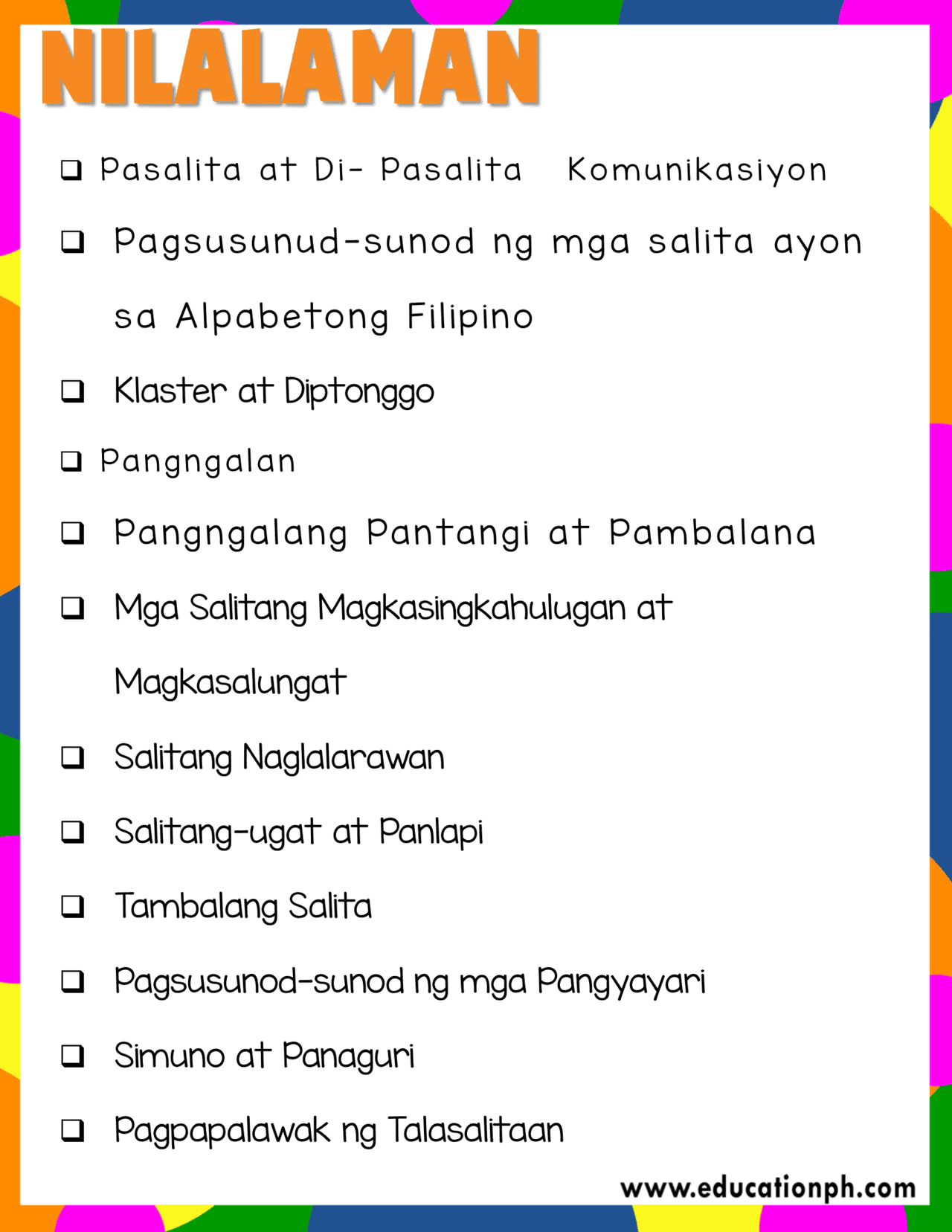 Grade 2 Filipino Workbook
