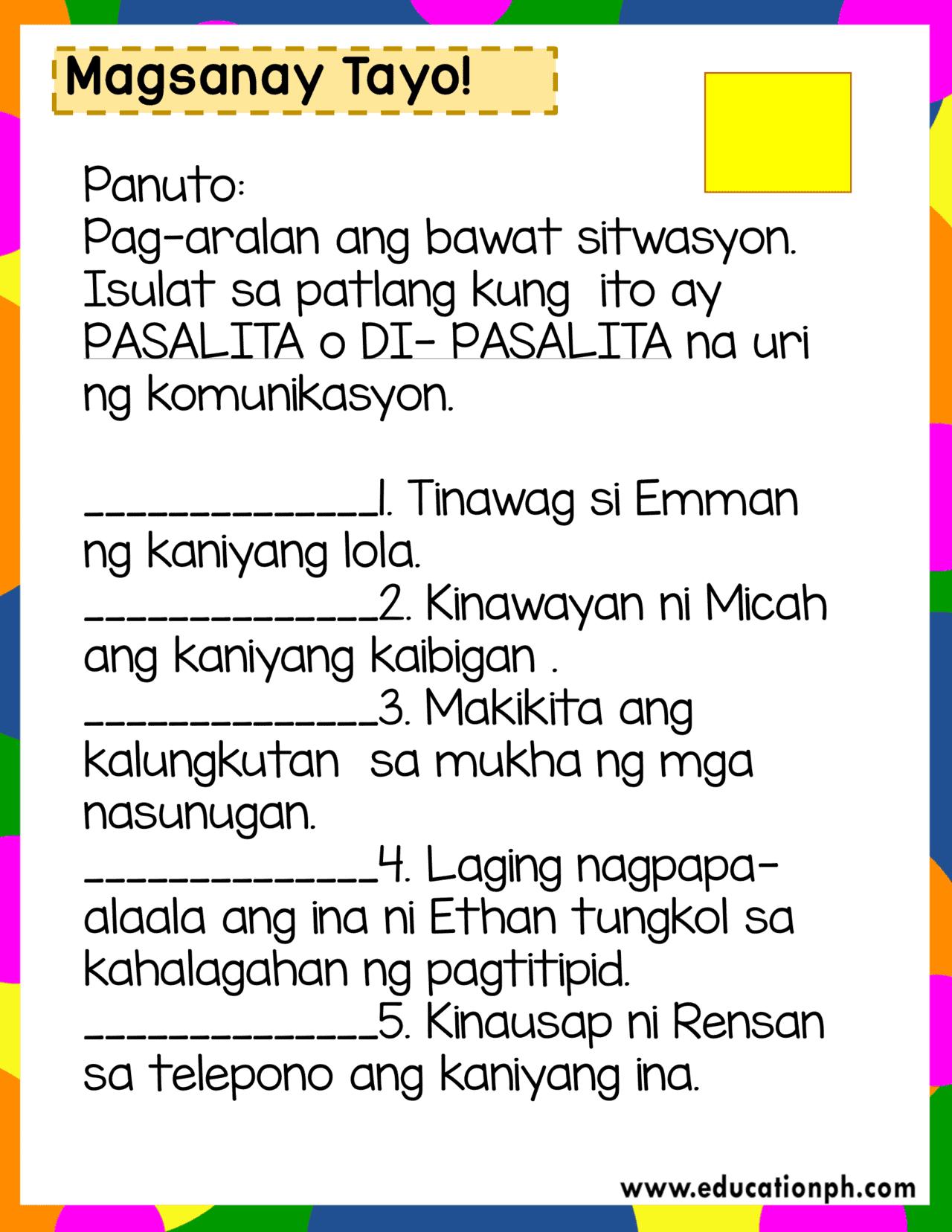 Grade 2 Filipino Workbook