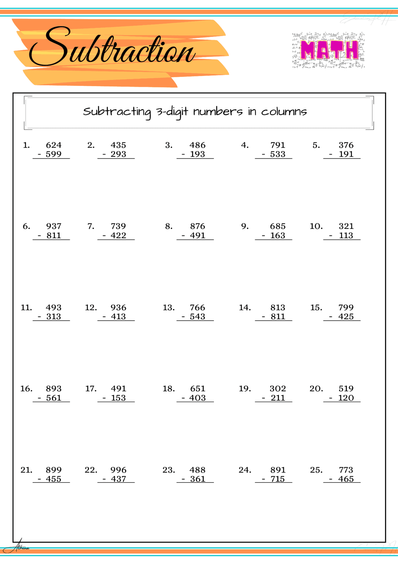 Grade 4 Math Worksheet Subtraction Part 5