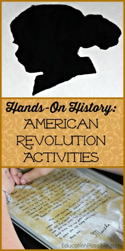 Top of pin is a silhouette of a doll's head and the bottom of the image is a piece of paper in a pan wet with tea. In the middle is a tan rectangle with text inside Hands-on History American Revolution Activities.