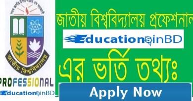 NU Honours Professional Admission Notice Session 2018-2019 nu.ac.bd
