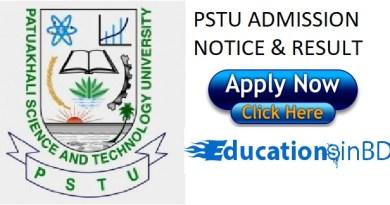 PSTU Admission Test Notice Result For Session 2018-2019 www.pstu.ac.bd