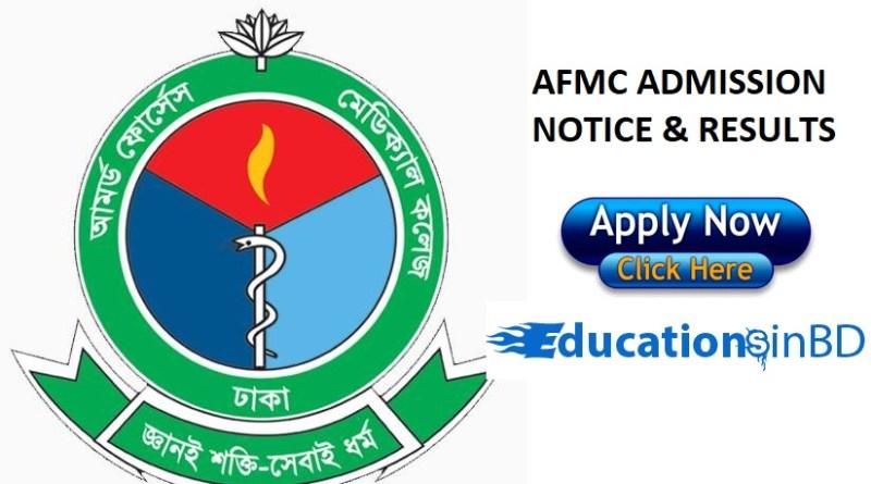 AFMC Admission Test Notice Result Session 2018-2019 - afmc.edu.bd