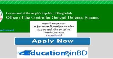 cgdf Controller General Defence Finance Job Circular Result 2019