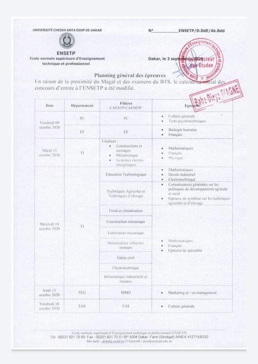 Planning général des épreuves du concours ENSETP 2020 - Sénégal Education