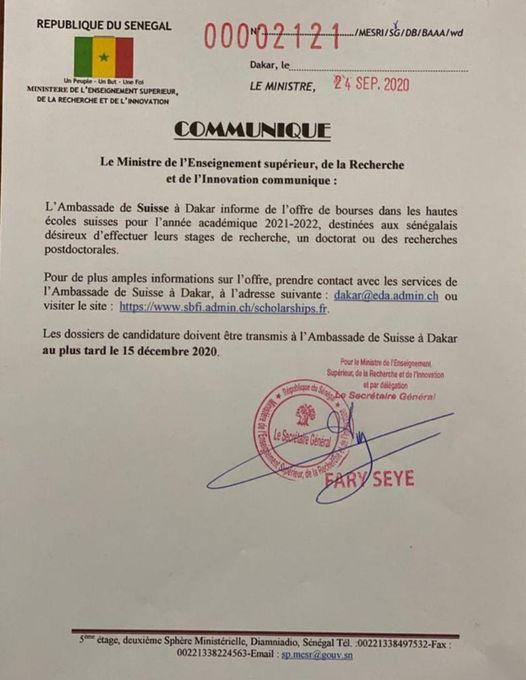 L'AMBASSADE DE SUISSE AU SÉNÉGAL LANCE DES BOURSES D'ÉTUDES POUR LES SÉNÉGALAIS - Sénégal Education