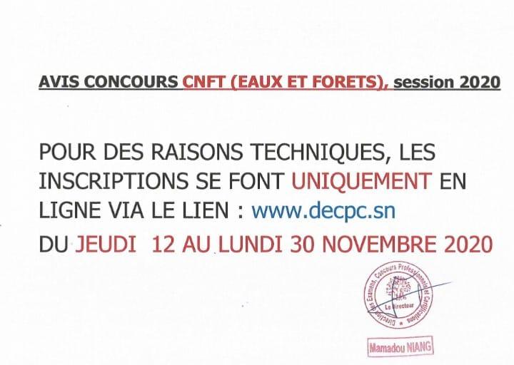 CONCOURS EAUX ET FORÊTS 2020 DÉPÔT EN LIGNE - COE Sénégal