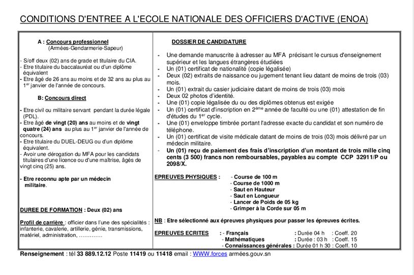 Conditions D'entree A L'ecole Nationale Des Officiers D'active (Enoa)