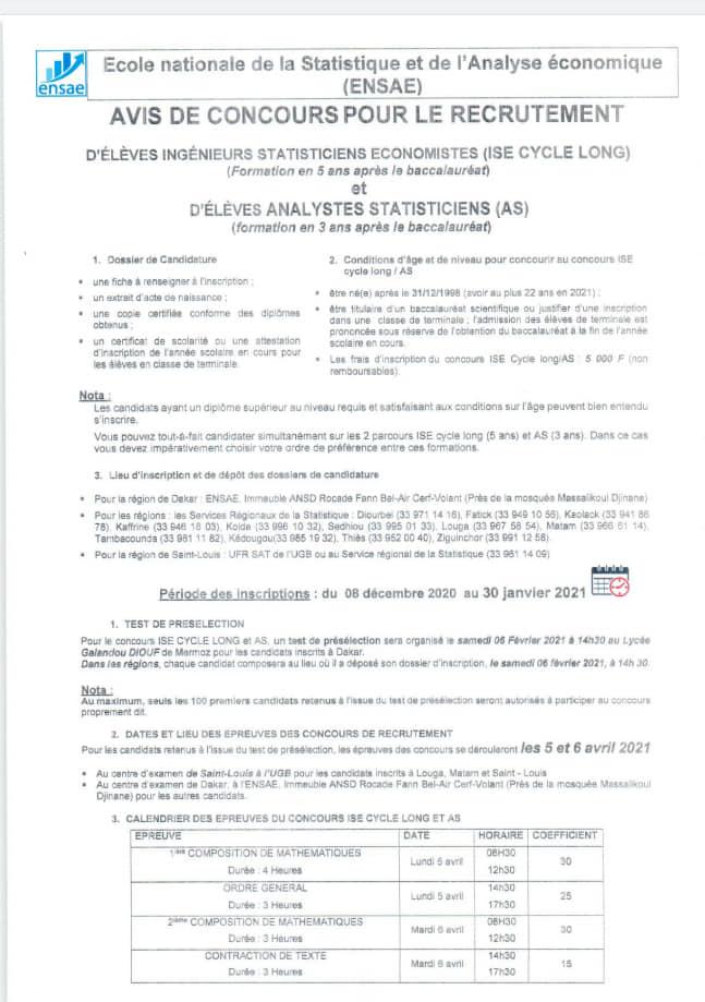 AVIS DE CONCOURS POUR LE RECRUTEMENT ÉLÈVES INGÉNIEURS STATISTICIENS ÉCONOMISTES ENSAE 2020 - Sénégal Education