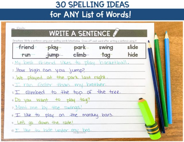 24 Spelling Activities for ANY List of Words  Education to the Core