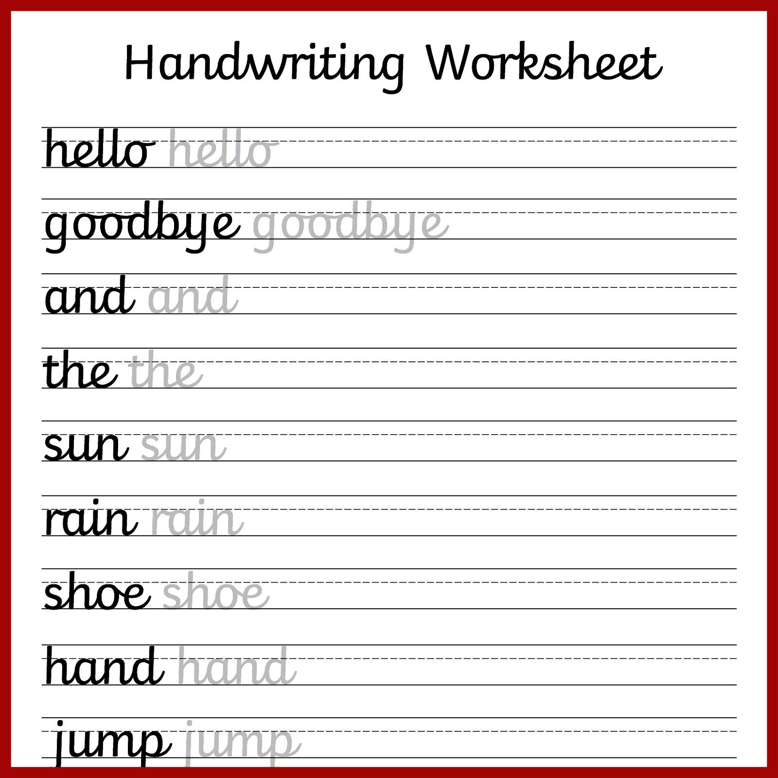 Writing Worksheets For Students