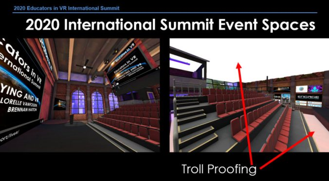 Behind the Scenes - Educators in VR International Summit custom event space virtual conference
