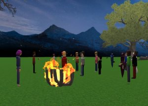 vCoaching event around a campfire in AltspaceVR.