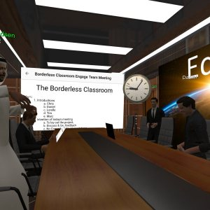 Discussing VR Labs and Borderless Classroom Network in ENGAGE.