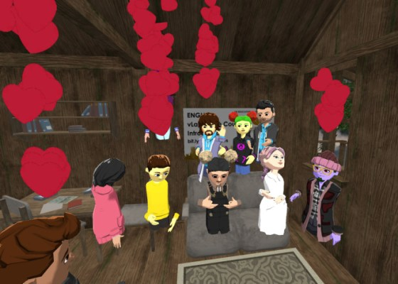 Gold Lotus English lesson class in treehouse in AltspaceVR.