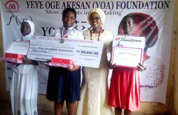 YOA Mathematics Competition winner gets 100,000 naira