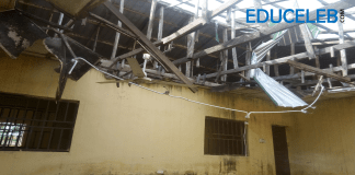 A dilapidated office within the administrative block of the Almajiri Model School, Dutsin-Ma