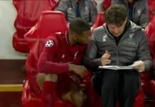 Liverpool Coach, Jürgen Klopp with a substitute player, Georginio Wijnaldum