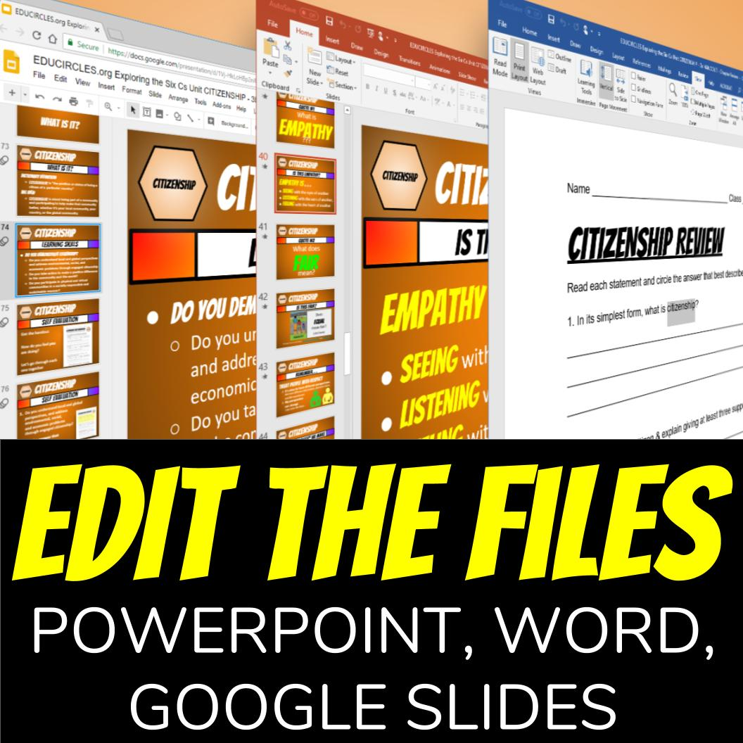 Edit the files for your specific needs using powerpoint, word, or google slides.