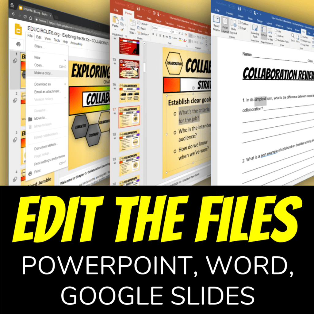 Collaboration Skills Lesson Plans: Edit the files - powerpoint, word, google slides