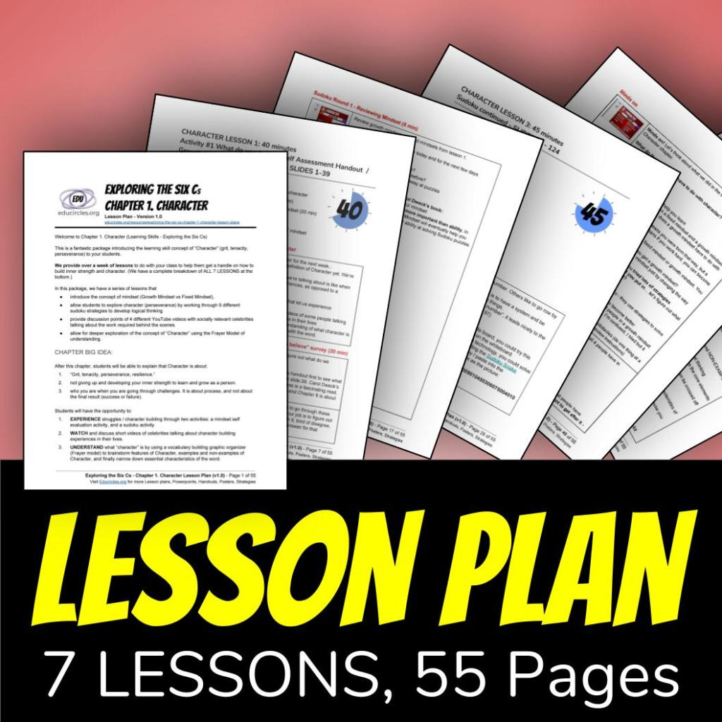 Character Education Lesson Plans - 7 lessons, 55 pages
