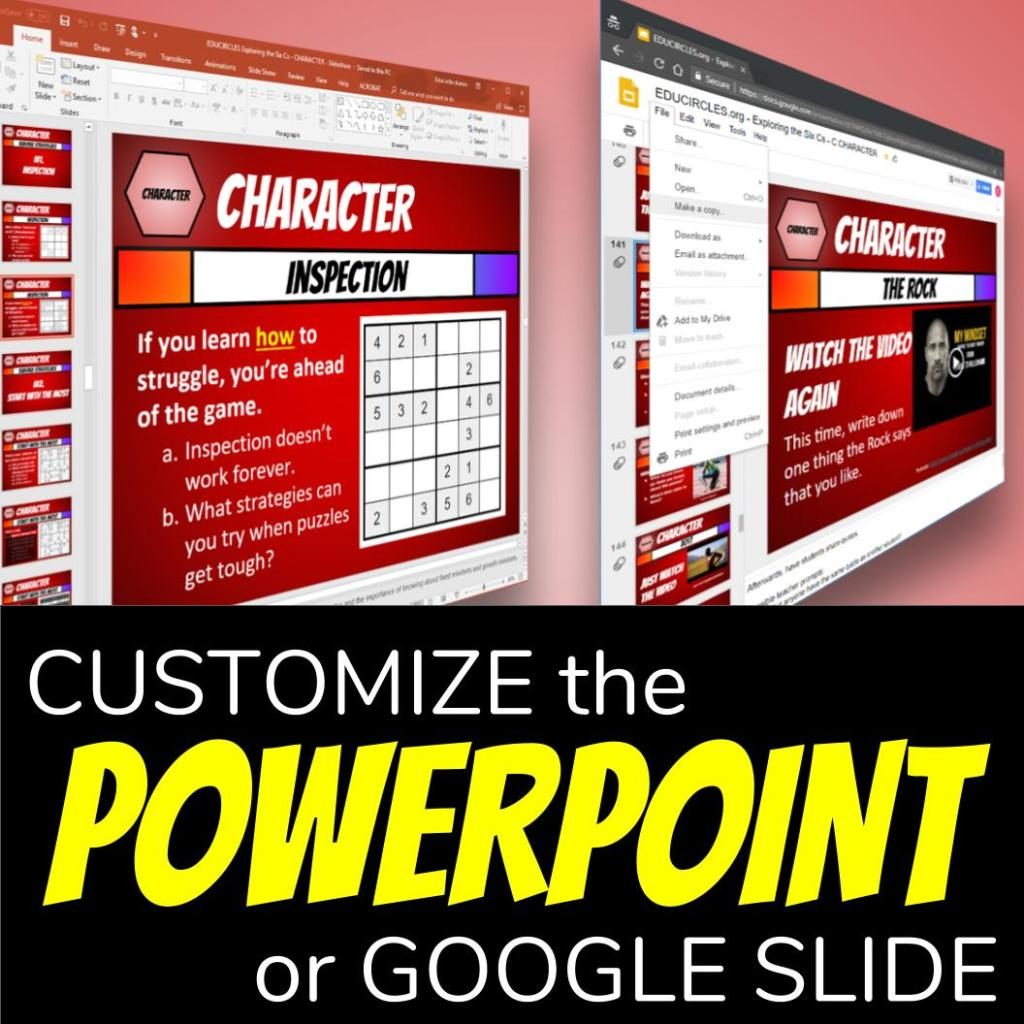 Character Education Lesson Plans - Customize the Powerpoint (or Google Slide) file