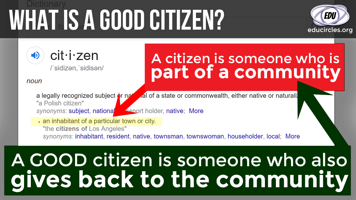 What is a Good Citizen? Screenshot of Good Citizenship definition with notes on top: A citizen is someone who is part of a community. A good citizen is someone who also gives back to the community.