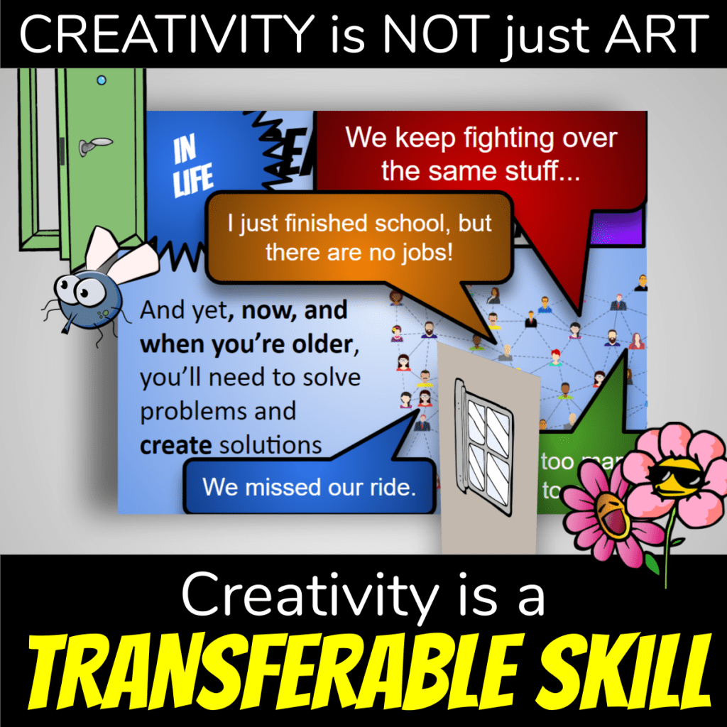 Creative lesson plan cover: Creativity is not just art. Creativity is a transferable skill. Photo of sample slides and fly going towards open door.