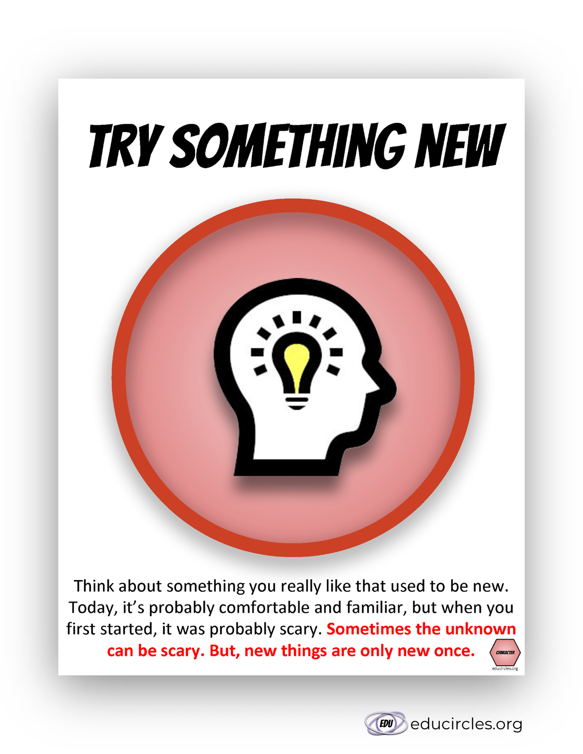 FREE Growth Mindset Poster PDF slide 3 - strategy: try something new