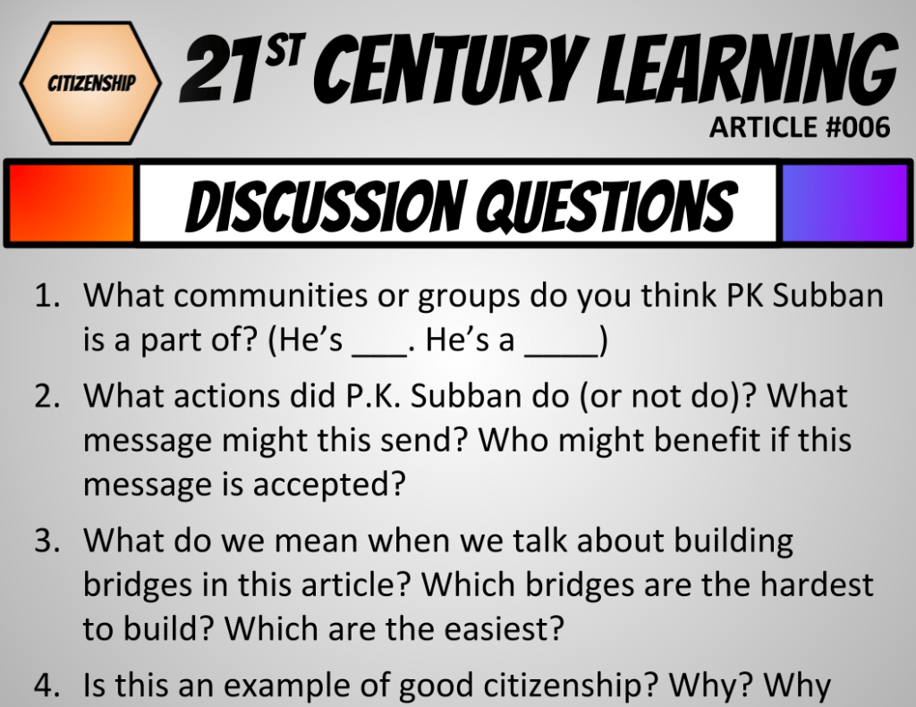 Active Citizenship Slideshow lesson (slide 22) with the 4 discussion questions