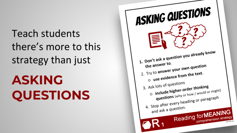 Asking Questions Reading Comprehension Strategies