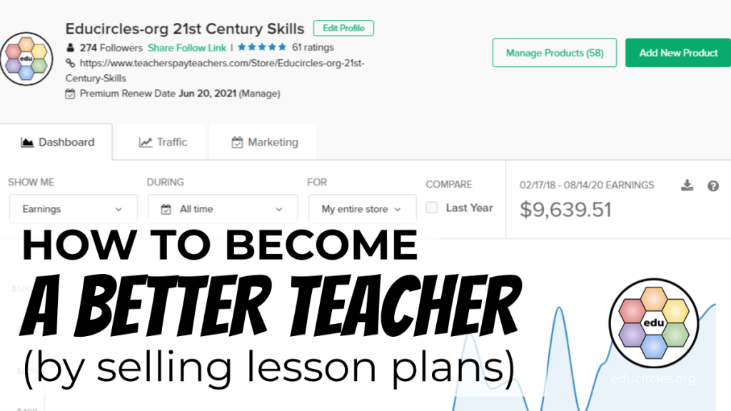 How to become a better teacher by selling lesson plans below (Screenshot of money made on Teachers Pay Teachers)
